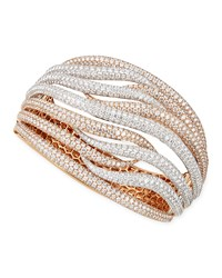 18K White And Rose Gold Fantasia Pave Diamonds Crossover Bangle 27.47 Tcw Roberto Coin Pink