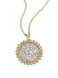 Pleve Ice Flower Diamond And 18K Yellow Gold Pendant Necklace