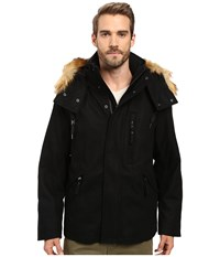 Marc New York Fremont Pressed Wool Puffer Bomber With Faux Fur Trimmed Removable Hood Black Men's Coat