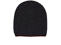 Barneys New York Men's Rib Knit Wool Cashmere Beanie Dark Grey
