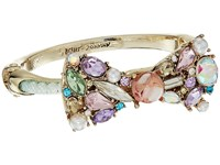 Betsey Johnson Mixed Multicolored Stone Bow Pearl Mesh Tube Hinged Bangle Bracelet Multi Bracelet