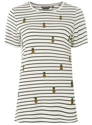 Dorothy Perkins Ivory Striped Pineapple Embroidered T Shirt White