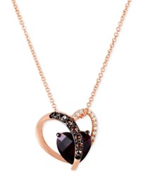 Le Vian Raspberry Rhodolite 2 Ct. T.W. Smoky Quartz 1 10 Ct. T.W. And Diamond Accent Heart Necklace In 14K Rose Gold Red
