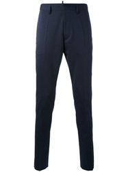 Dsquared2 Twill Chino Trousers Men Cotton Polyester Spandex Elastane Virgin Wool 56 Blue