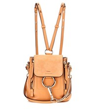 Chloe Faye Mini Leather And Suede Backpack Brown