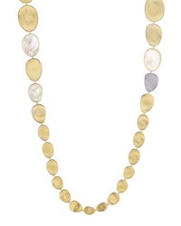 Marco Bicego Lunaria Long Mother Of Pearl Station Necklace With Diamonds 39