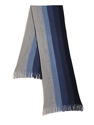 Saks Fifth Avenue Striped Cashmere Scarf Grey Combo