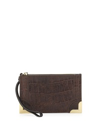 Foley Corinna Small Croc Embossed Leather Wristlet Pouch Brownie