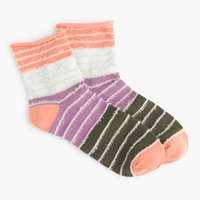 J.Crew Rolled Cuff Striped Socks With Fringe Bright Cantaloupe