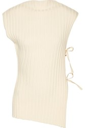 Jacquemus Tie Side Ribbed Wool Top Cream