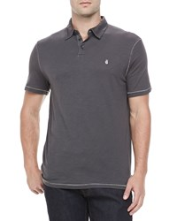 John Varvatos Short Sleeve Peace Sign Polo Dark Gray