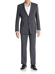 Versace Regular Fit Melange Wool Blend Suit Black Grey