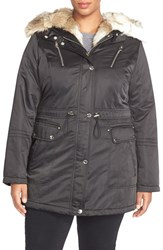 Plus Size Women's Laundry By Shelli Segal Faux Fur Trim Satin Parka