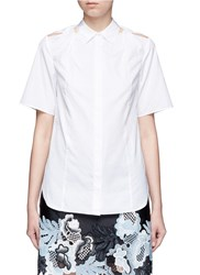 3.1 Phillip Lim Twist Knot Cutout Shoulder Cotton Shirt White