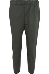 Marni Cropped Cotton And Linen Blend Twill Pants Green