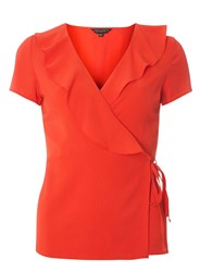 Dorothy Perkins Red Ruffle Front Wrap Top
