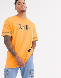 Liquor N Poker T Shirt With Text Print In Orange