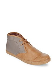 Ben Sherman Victor Faux Leather Chukka Boots Taupe