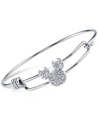 Disney Mickey Mouse Head Crystal Charm Bangle Bracelet In Sterling Silver Plating And Stainless Steel