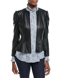 Rebecca Taylor Victorian Fitted Leather Jacket Black