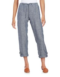 Lord And Taylor Roll Up Linen Pants Blue