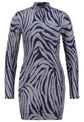 Ivy Revel Smokey Jersey Dress Blue Silver