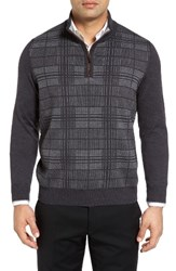 Thomas Dean Men's Quarter Zip Check Wool Sweater