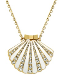 Kate Spade New York 12K Gold Plated White Crystal Shell Locket Pendant Necklace