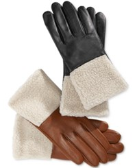 Charter Club Faux Sherpa Cuff Leather Tech Gloves Only At Macy's Saddle
