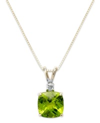Macy's 14K Gold Necklace Peridot 1 5 8 Ct. T.W. And Diamond Accent Cushion Pendant