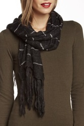 Nine West Dual Pattern Pointelle Muffler Black