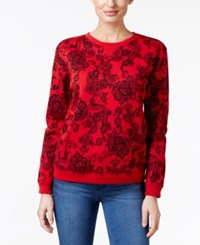 Karen Scott Petite Lace Print Sweatshirt Only At Macy's New Red Amore