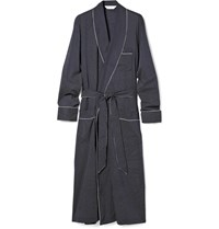 Derek Rose Plaza Polka Dot Cotton Dressing Gown Blue