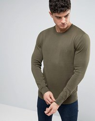 French Connection Crew Neck Knitted Jumper Khaki Green
