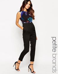 Little Mistress Petite Jumpsuit With Floral Print Top Printblack