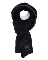 Scotch And Soda Blue Cashmere Wool Ribbed Scarf