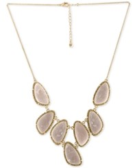 Rachel Roy Gold Tone Pave And Pink Stone Statement Necklace Blue