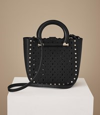Reiss Mayfair Laser Cut Mini Leather Tote In Black