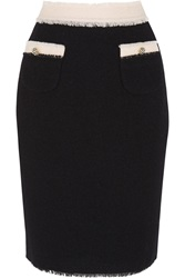 Meadham Kirchhoff Mina Wool Boucle Pencil Skirt Black