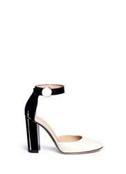 Gianvito Rossi Ankle Strap Patent Leather D'orsay Pumps White