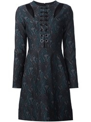 Yigal Azrouel 'Jaquard Lace Up' Dress Green