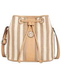 Giani Bernini Striped Straw Bucket Bag Only At Macy's Khaki Natural