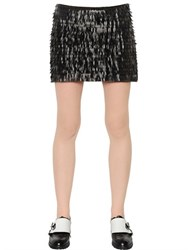 Karl Lagerfeld Fringed Faux Leather And Jersey Skirt