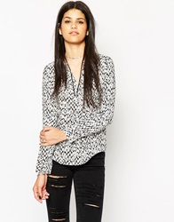 Only V Neck Long Sleeve Printed Tunic Clouddancerwaop2