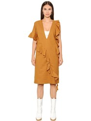 Maison Martin Margiela Ruffled Cotton Blend Poplin Dress