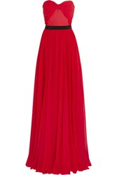 Michael Kors Ruched Silk Chiffon Gown Red