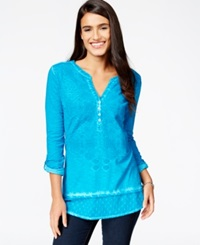 Style And Co. Embroidered Roll Sleeve Top Only At Macy's Teal Gem