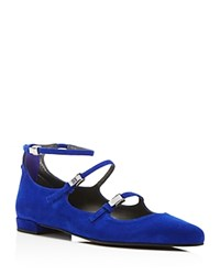 Stuart Weitzman Flippy Buckle Pointed Toe Flats Electric Blue