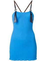 Toga Pulla Ribbed Tank Top Cotton Polyester Blue