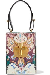 Oscar De La Renta Woman Alibi Printed Textured Leather Tote Multicolor